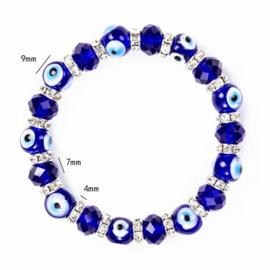 """Armband met glazen blauwe """"boze oog"""" kralen en strass"""