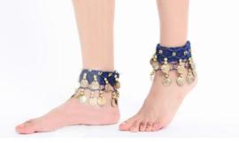 Setje polsbandjes kobaltblauw met gouden muntjes