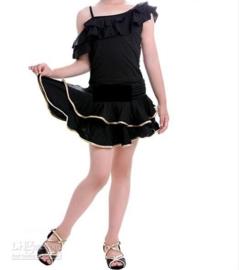 LATIN SALSA danssetje rokje en roezeltopje zwart met goud