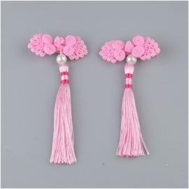 Superleuk setje èchte chinese haarclips roze knoopornament met parel en kwastje