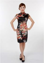 Bijzonder mooi chinees jurkje zwart met rode chinese knoopjes en bloemenprint