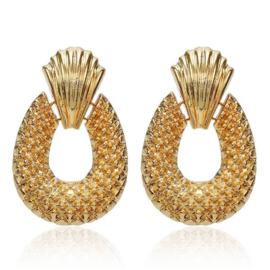 Gouden chunky oorbellen statement oorbellen ananas 5,5 cm