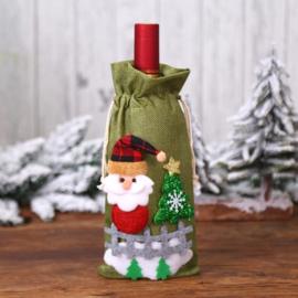 Luxe groene kadoverpakking wijnfles Kerstman