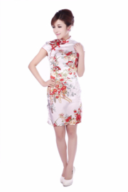 Bijzonder mooi chinees jurkje wit met rode chinese knoopjes en bloemenprint