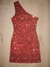 Superleuk glitterjurkje met één schouderbandje rood 34/36