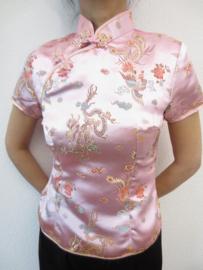 Mooi roze getailleerd chinees blousje draken motief