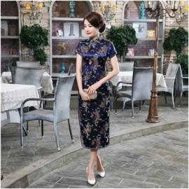 Elegante lange kobaltblauwe Chinese jurk draken en phoenix motief t/m maat 48!