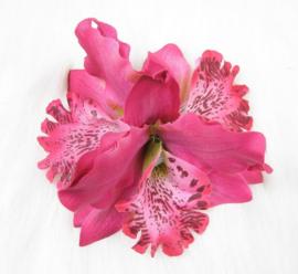 Haarclip/broche driedubbele orchidee fuchsia