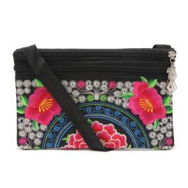 Leuk geborduurd schoudertasje met rozerode lotusbloemen 2