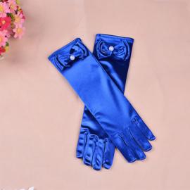 Gala handschoentjes met strik voor meisje 4-8 jaar donkerblauw