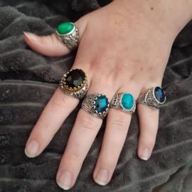Nr. 1 Tibetaans zilveren ring met ovale turquoise natuursteen maat 20