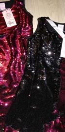 Ge-wèl-dig omkeerbare pailletten jurkje  fuchsia/zwart