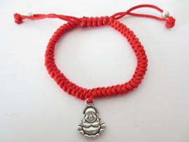 Rood geluksarmbandje met lachende Boeddha