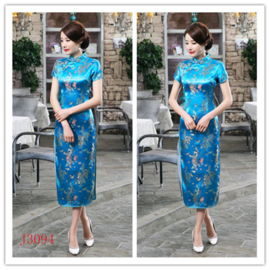 Fantastische lange turquoise chinese jurk met draken en phoenix motief