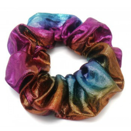 Mermaid donker multicolor glans scrunchie!