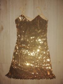 Geweldig paillettenjurkje met glitterfranje goud maat 34/36/38