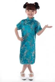 Prachtig turquoise Chinees jurkje
