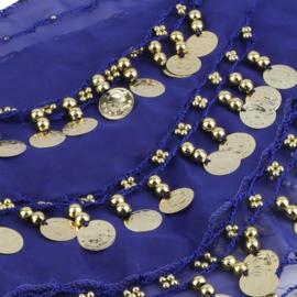 Mooie kobalt chiffon heupsjaal gouden muntjes