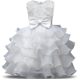 Schitterende witte luxe feestjurk met roosjes en laagjes rok maat 134/140