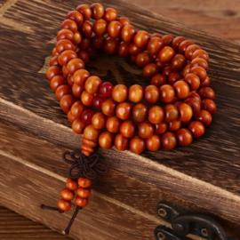 Mala unisex gebedsketting/armband sandalwood bruin