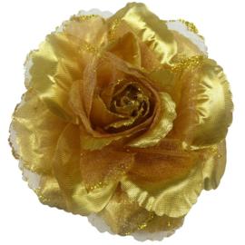 Prachtige gouden roos met glitters op haarclip/elastiek/broche