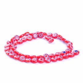 Glaskraal Millefiori rood/blauw 8 mm