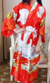 Fantastische lange rode dameskimono met Geisha