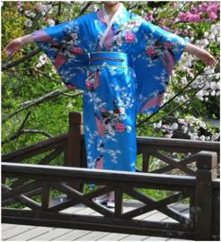 Beeldschone Geisha kimono dress met obi turquoise met pauwenprint
