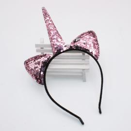 Haarband omkeerbare pailletten UNICORN roze/???
