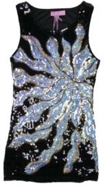 Geweldig glitter pailletten jurkje starburst maat 92 t/m 116