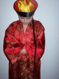 Chinese mandarijnen hoed zwart/rood/geel met vlecht