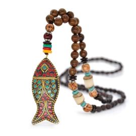Nepalese geluksketting met vis amulet