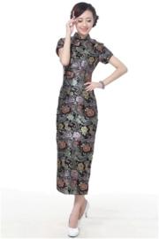 """Schitterende lange Chinese """"10 button"""" jurk zwart"""