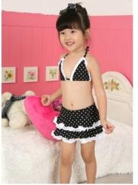 Superleuke polkadot bikini met rokje zwart/wit alleen nog mt 86/92