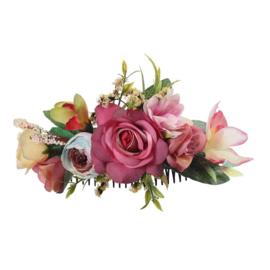 Grote romantische haarkam met roze bloemen