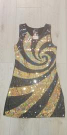 Geweldig retro glitterjurkje spiraal goud damesmaat S/M