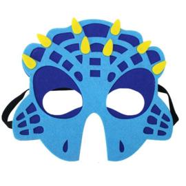 Geweldig leuk en stevig dino masker van vilt blauw/geel