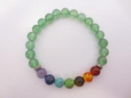 Kralen armband geslepen Jade kralen met 7 chakra kralen