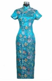 "Schitterende lange Chinese ""10 button"" jurk turquoise"