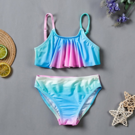 Superleuke multicolor Rainbow bikini blauw/groen/roze/wit