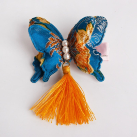Superleuke èchte chinese haarclip met turquoise brokaat vlinder en kwastje