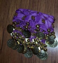 Setje polsbandjes paars met gouden muntjes
