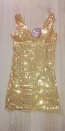 Fantastisch gouden glitterpailletten jurkje alleen nog  34/36 en 38/40