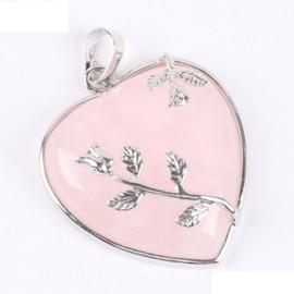 Prachtige hanger hart van Rozenkwarts met tulpjes