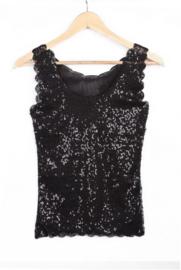 Leuk glittertopje met sierrandjes en kleine pailletjes zwart 158/164/XS/S