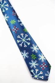 Kerststropdas Sneeuwkristallen blauw
