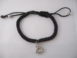 Zwart geluksarmbandje met lachende Boeddha