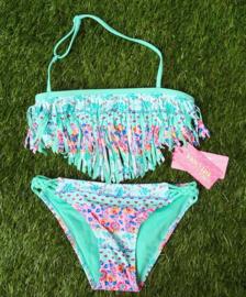 Geweldige bohemian bikini turquoise/roze bloemetjes met franje
