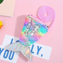 Superleuk glitter pailletten tasje zeemeermin multi/zilver