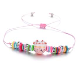 """Schattig kleurrijk verstelbaar armbandje """"Lucky cat""""  roze"""